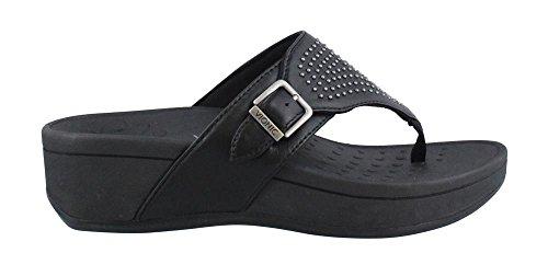 Vionic Kvinder, Pacific Capitola Thong Stil Sandaler Sorte Får Nappa