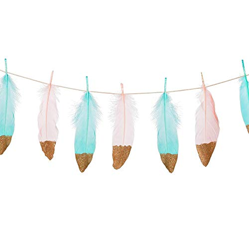 (Wicemoon 10FT Feather Garland Rose Gold Glitter Dipped Light Pink and Blue Feather Banner for Wedding Party Baby Showee Nursery Decor, Teepee Decorations)