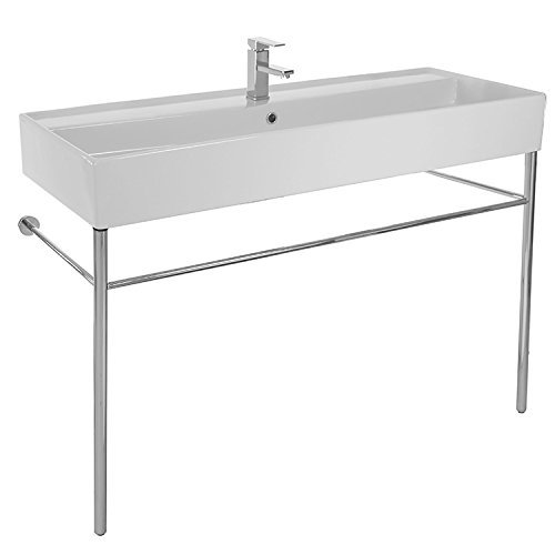 Scarabeo 8031/R-120A-CON-One Hole Teorema Large Rectangular Ceramic Console Sink and Polished Chrome Stand, White ()