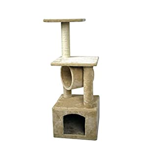 "Ranking 36"" Cat Kitty Tree Scratcher Play House Condo Furniture Toy Bed Post House for Cat and Kittens Beige"