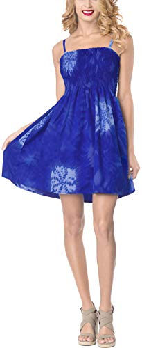 LA LEELA Soft Tie Dye Length Knee Halter Tube Dress Royal Blue 1171 One Size