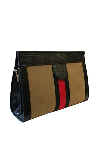 Inzi Nude Red Stripe Cross Body Leather Suede Textured Bag Faux ()