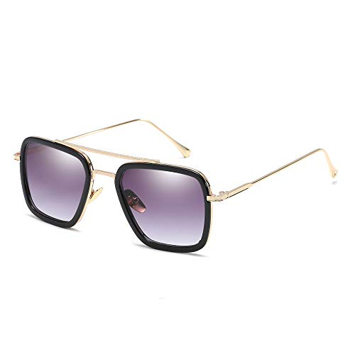 Retro Aviator Sunglasses for Men Women Square Metal Classic Sun Glasses Designer Shades (Black Frame/Gradient Grey Lens)