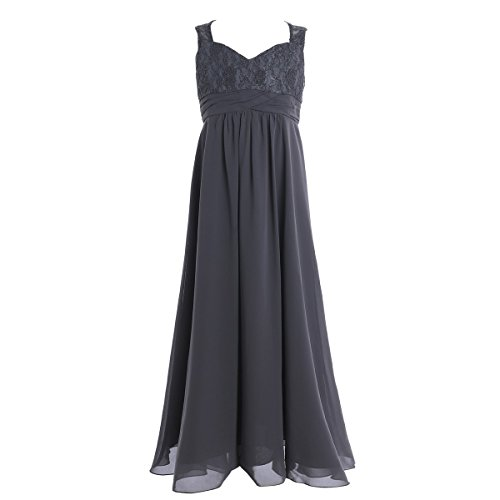 Wedding Evening Prom Gown (iEFiEL Big Girls Elegance Wedding Flower Girl Lace Chiffon Prom Dress Long Evening Gown Gray 14)