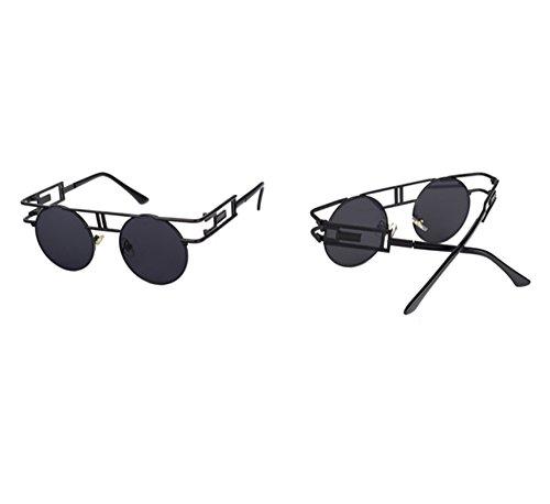 Noir Soleil UV400 Classique De Cadre Coloré Réfléchissant Gothique Gris Ronde Vintage Keephen Lunettes vwPpzz