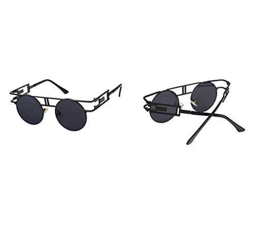 góticas Gafas Gafas Hellomiko de sol marco redondo Steampunk de vintage de metálicas Gris Negro de aviador wxTwq0dXC