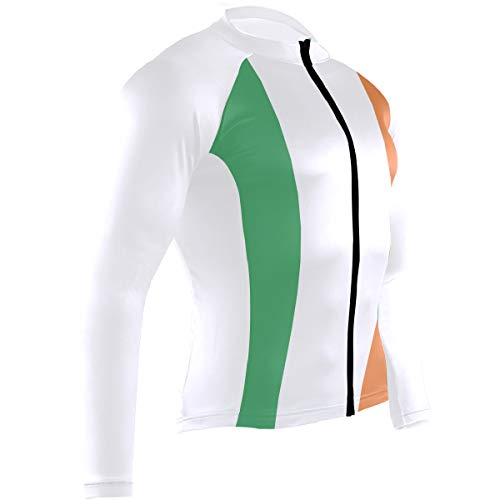 Men's Cycling Jerseys Irish Flag - of Ireland Quick Dry Bike Jacket Long Sleeve Shirt Tops Zipper Pockets