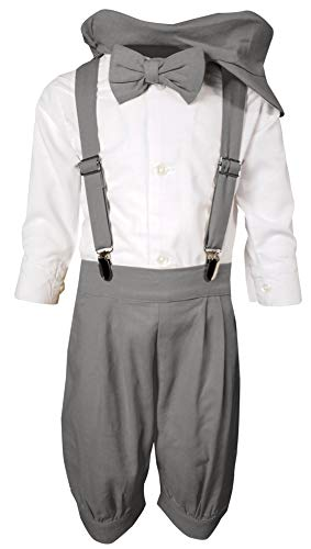 Baby Toddler Boys Little Gentleman Ring Bearer Outfit Vintage Knicker Suspender Bowtie Suit Set White/Grey 2-3T ()