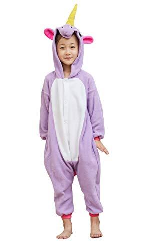 OLadydress Unisex Kids Unicorn Costumes Pyjamas, Girls Boys Animal Jumpsuits Halloween Cosplay Onesie Purple 6 Years ()