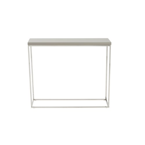 Euro Style Teresa Rectangle Lacquer Top Console Table, Taupe with Polished Stainless Steel