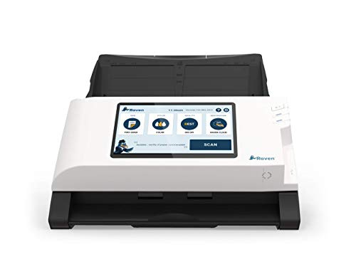 Raven Original Document Scanner - Color Two Sided Wireless Scanning Direct to Cloud, Automatic Document Feeder (ADF) and LCD Touchscreen, Wi-Fi and Ethernet