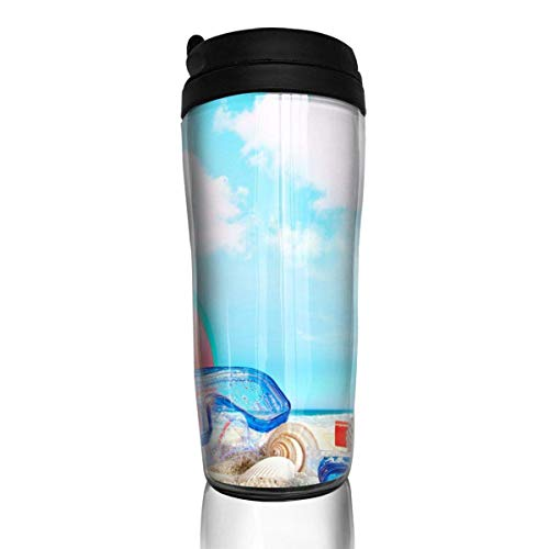 Custom Reusable Coffee Cup Summer Season Beach View Tumbler Vacuum-Insulated Travel Mug Hot Or Cold, 12 Oz.with Lids -