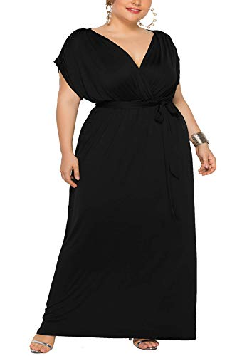 Holagift Women's Plus Size Maxi Dress V-Neck Stretchy Casual Evening Party Bridesmaid Dresses (2XL, B-Black)