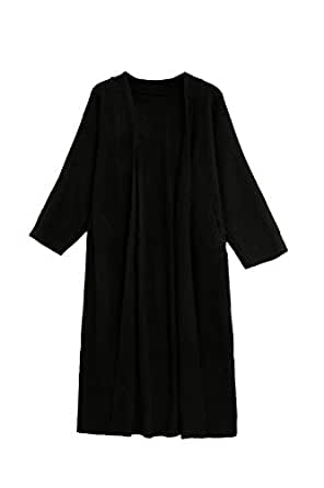 KUBITU Womens Shawl Collar Pocket Open Front Wool Long Cardigan Sweater Coat Medium Black