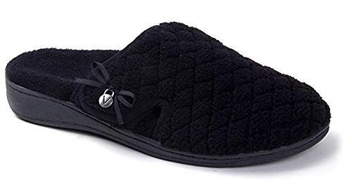 Vionic Women's Adilyn Slipper- Ladies Adjustable Slippers with Concealed Orthotic Arch Support Black 7 Medium US