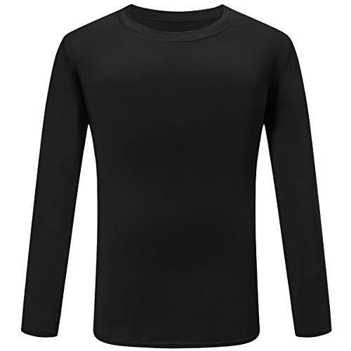 - TELALEO Boys' Girls' Youth Athletic Performance Long Sleeve T Shirts Cool Dri Fit Moisture Wicking UPF 50+ Black S