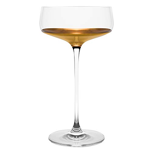 Barski – Handmade Glass – Champagne Saucer – Decororated And Dipped in 20 K gold on the bottom – 10 oz. – Gift Boxed…