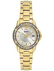 Seiko Womens SUR714 Gold Stainless-Steel Plated Analog Quartz Dress Watch