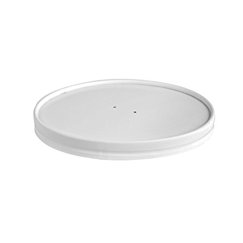 - White Vented Paper Lid for Hot Food Paper Buckets (Case of 360), PacknWood - Recyclable Paper Container Lids (5.9