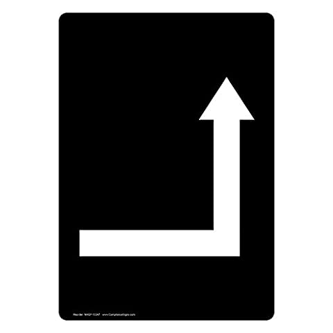 ComplianceSigns Vertical Vinyl Directional Labels, 5 x 3.50 in., with [Graphic Only] Directional Symbol, Black, pack of 4