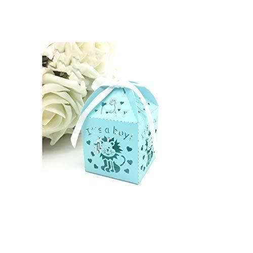 Little cute shop 50pcs Pink/Blue Tiger and Giraffe Laser Cut Candy Box, Baby Shower Souvenir Gift Box Kids Party Favors,Wedding Decoration,Blue Lion,5x5x7.5cm