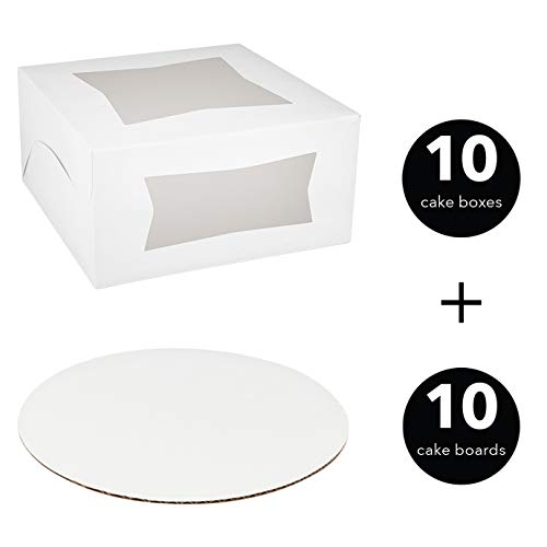 Cake Boxes and Cake Boards 10 Inch - 10 Bakery Boxes and 10 Round Cake Boards - 10