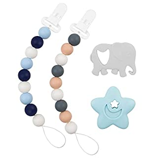 Babygoal Silicone Pacifier Clip for Boys, 2 Pack Teething Beads with Teething Toys fits Most Pacifier Styles, Soothie and Baby Shower Gift 2GJL05-YJ