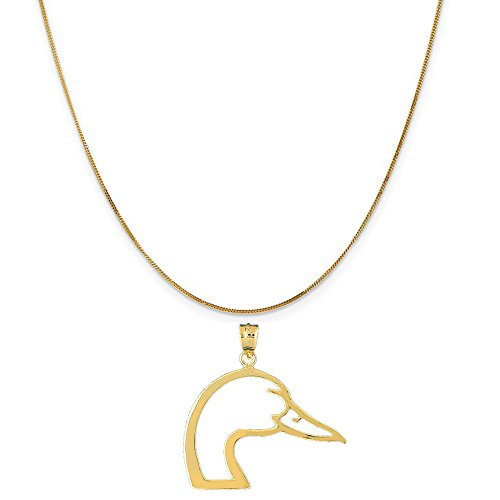 14k Yellow Gold Duck Head Pendant on a 14K Yellow Gold Curb Chain Necklace, 16'' by Eaton Creek Collection