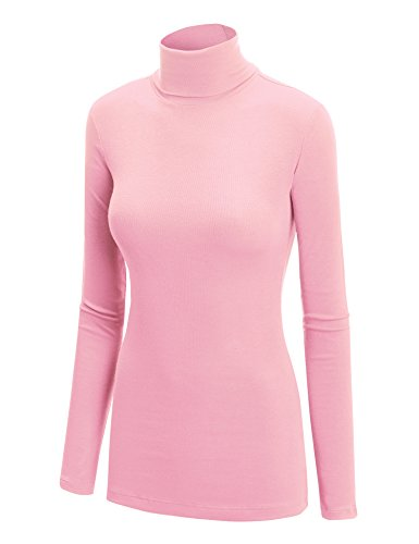 Womens Long Sleeve Rib Turtleneck Top Pullover Sweater M Pink (Rib Turtleneck)