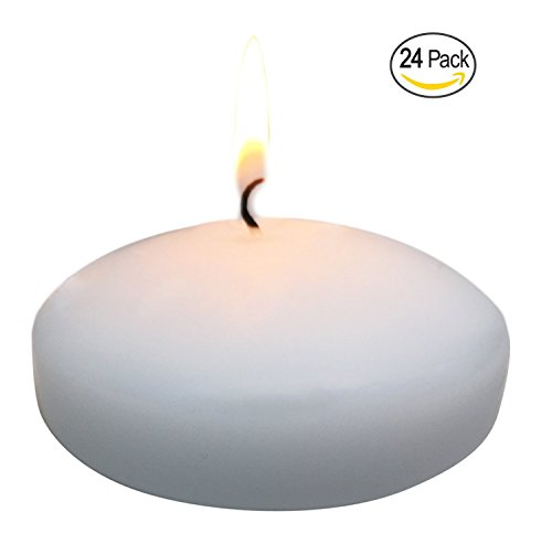 Floating disc Candles for Wedding, Birthday, Holiday & Home Decoration by Royal Imports, 3 Inch, White Wax, Set of 24
