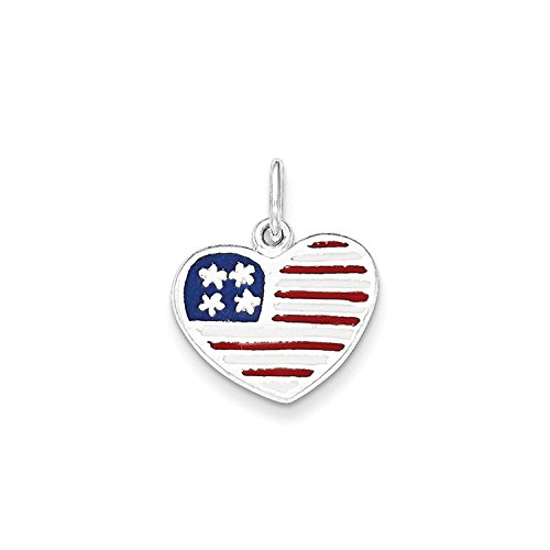Solid Flag Heart Pendant - Solid Sterling Silver Enamel American Flag Heart Charm Pendant