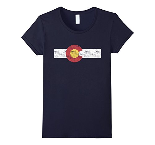 Womens Colorado State Flag T Shirt Patriotic Colorado Day Gift Small Navy