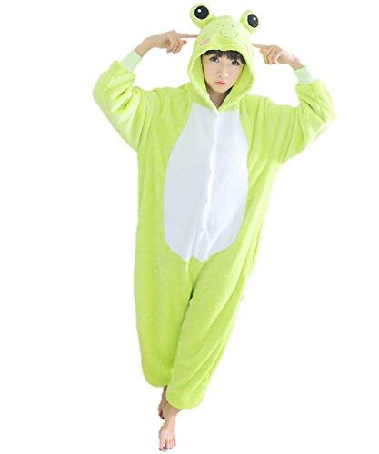 Winnie The Pooh And Piglet Couple Costume (Green Frog Adult Unisex Animal Kigurumi Cosplay Costume Pajamas Onesies Large)