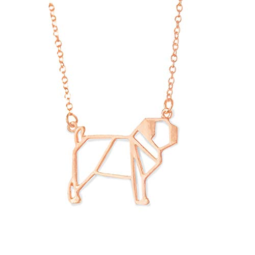 Altitude Boutique Pug Necklace, Dog Pendant Necklace, Origami Geometric Jewelry (Silver, Gold) (Rose Gold)