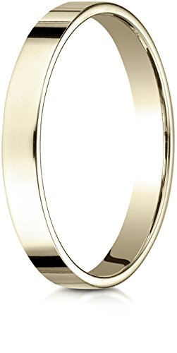 Benchmark 14K Yellow Gold 3mm Traditional Flat Wedding Band Ring, Size (14k Gold Flat Wedding Band)
