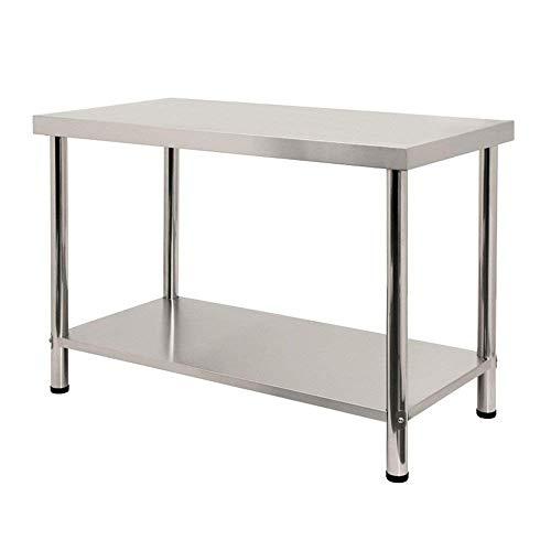 Aufun - Mesa de trabajo de acero inoxidable, mesa de cocina, altura regulable, mesa de trabajo de acero inoxidable para cocina, bar, restaurante, color plateado