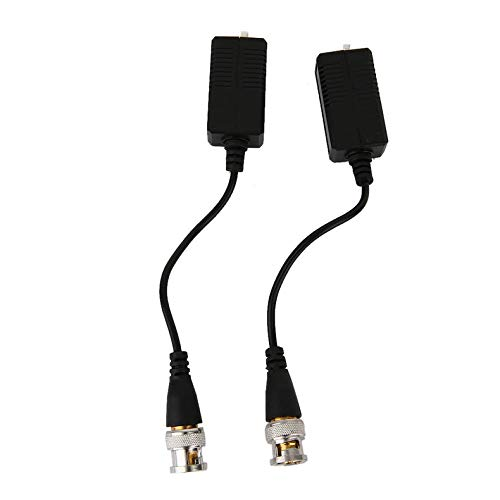 (ZicHEXING 2pcs/Set 720P/1080P ABS Shell Passive HDCVI Transceiver Adapter Transmitter Single Channel 300M Device Black)