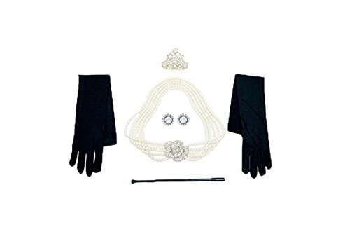 Utopiat Costume Jewelry and Accessory Set, Audrey Hepburn, Breakfast at Tiffany's Inspired By Tiffany Pearl Earring