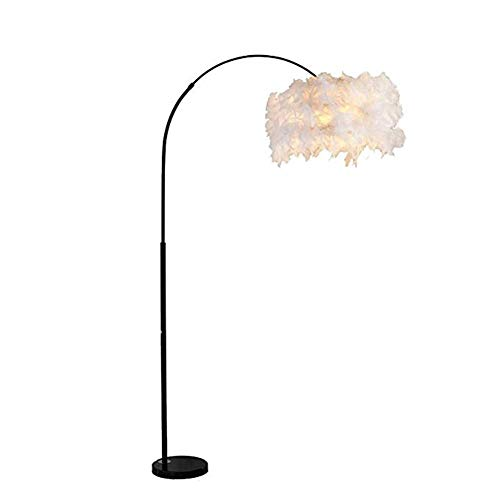 Copper Feather Floor Lamp - Floor Lamp Feather Lamp, Living Room Lamp Creative Simple Modern LED Bedroom Feather Table Lamp for Read (Color : Black)