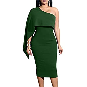 GOBLES Women's Summer Sexy One Shoulder Ruffle Bodycon Midi Cocktail Dress 17