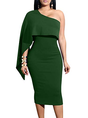 GOBLES Women's Summer Sexy One Shoulder Ruffle Bodycon Midi Cocktail Dress Green Cocktail Evening Club Dress