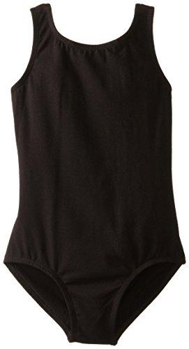 Clementine Apparel Girls' Big (7-16) Leotard Ballet Cut Tank One Piece Camisole Bodysuit Dancewear Costume, Black, 12-14