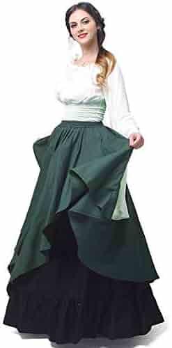 a984f7737caa Abaowedding Women's Medieval Dress Retro Renaissance Costumes Irish Trumpet  Sleeve Round Neck Peasant Long Gown