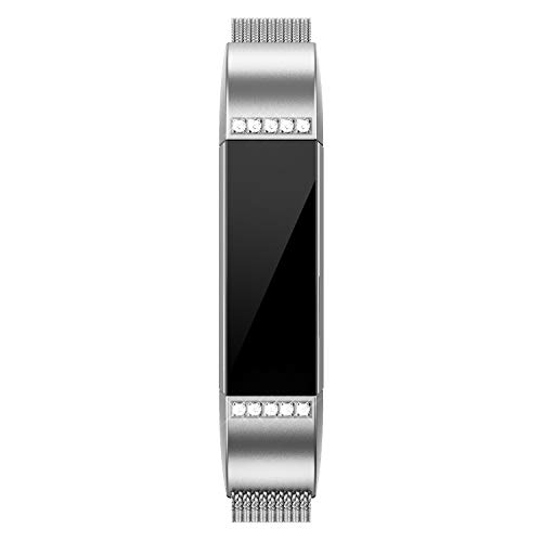 QusFy Metal Bands Compatible with Fitbit Alta/Alta HR/Ace, Stainless Steel Metal Replacement Accessories Small with Diamond Dressy Design for Women Men, Silver, Black, Rose Gold, Colorful, Champagne