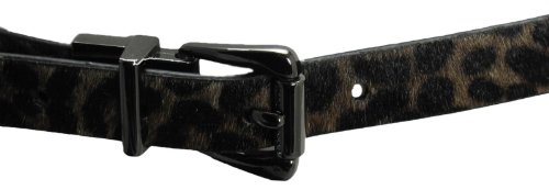 Nine West Women's Skinny Reversible Haircalf Leopard Belt-M-Grey