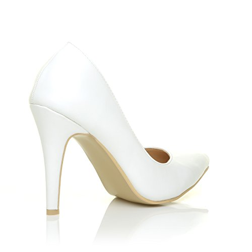 Darcy White PU Leather Stilleto High Heel Pointed Court Shoes Lu55zm