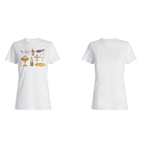 Neue Hand Gezeichnete Kommunion Frieden Damen T-shirt i872f
