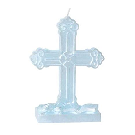 Multi Amscan 179853.08 Party Supplies White Cross Flat Molded Candle 5