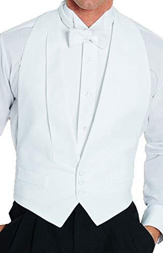 White Cotton Pique Tuxedo Openback(Backless) Vest, with White Pique Bowtie