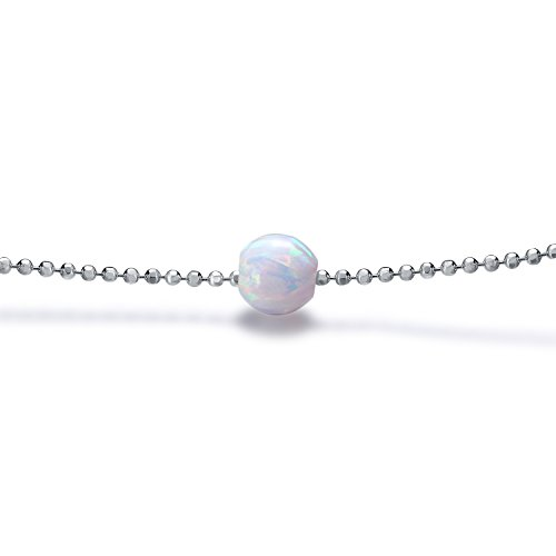 Floating White Opal Choker Necklace 12 Inch with Exender White Gold Plated (Beaded Silver Necklace)